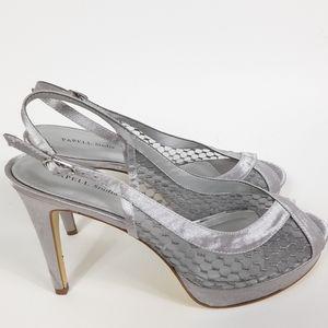 Papell Studio Peep Toe Silver Heels Size 8.5